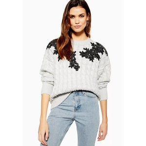 Topshop Gray Floral Applique Cable Knit Sweater